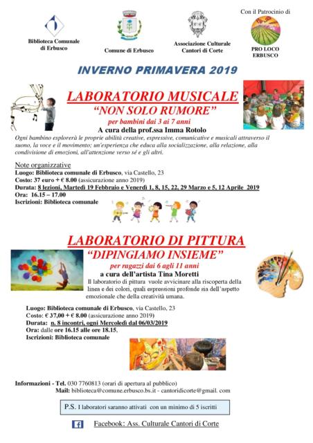 Immagine Evento LABORATORI  INVERNO PRIMAVERA 2019