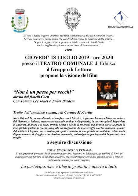 Immagine Evento Incontro gruppo di lettura mese di luglio: libro e film