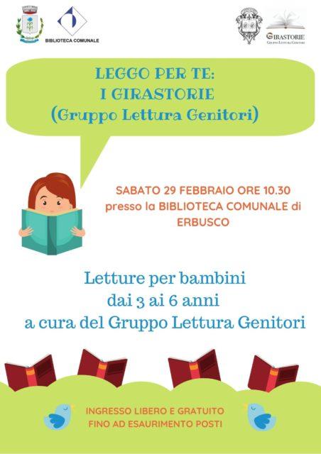 Immagine Evento Leggo per te: letture per bambini dai 3 ai 6 anni in biblioteca