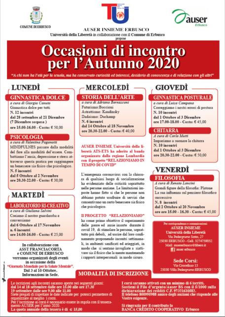 Immagine Evento AUSER INSIEME ERBUSCO – OCCASIONI D'INCONTRO 2020